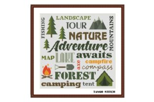 Print on Demand: Camping Lettering Cross Stitch Pattern Graphic Cross Stitch Patterns By Tango Stitch