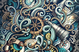 Doodles Graphic NAUTICAL Wallpaper Graphic Backgrounds By BalabOlka