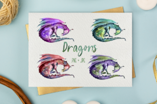 Print on Demand: Dragons - Watercolor Print and Clip Art Graphic Illustrations By tatibordiu