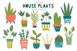 Print on Demand: House Plants Clipart Set Graphic Illustrations By poppymoondesign