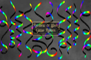 Print on Demand: Rainbow and Black Glitter Ribbon Clipart Graphic Illustrations By Digital Curio