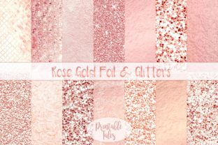 Rose Gold Foil & Glitter Metallic Papers Graphic Textures By printabletales