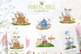 Print on Demand: Watercolor Cute Mouse and Snail Clipart Graphic Illustrations By Tiana Geo
