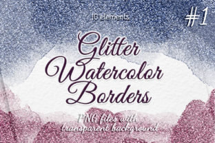 Watercolor Glitter Borders Colorful Set Graphic Objects By SweetRenieShop