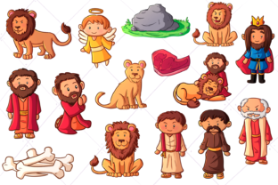 Print on Demand: Daniel and the Lion's Den Clip Art Graphic Illustrations By Keepinitkawaiidesign