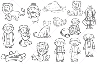 Print on Demand: Daniel and the Lion's Den Digital Stamps Graphic Illustrations By Keepinitkawaiidesign
