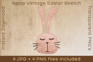 Print on Demand: Easter Bunny Head Vintage Rabbit Drawing Graphic Illustrations By Vintage 12by12