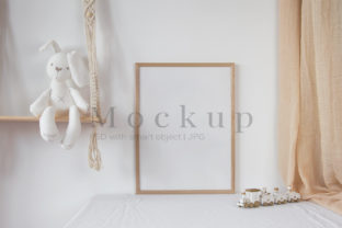 Print on Demand: Frame Mockup with White Bunny Graphic Product Mockups By PawMockup