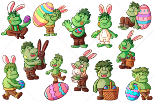 Print on Demand: Funny Easter Trolls Clip Art Graphic Illustrations By Keepinitkawaiidesign