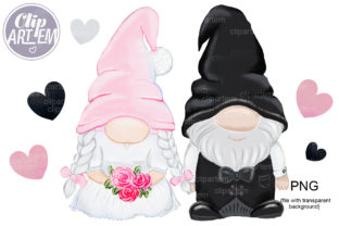 Print on Demand: Gnome Bride Groom Wedding PNG, Clip Art Graphic Illustrations By clipArtem
