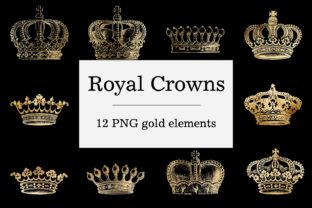 Print on Demand: Gold Royal Crowns - Gothic Design Graphic Objects By northseastudio