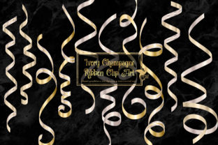 Print on Demand: Ivory Champagne Ribbon Clipart Graphic Illustrations By Digital Curio