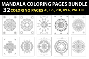 MANDALA COLORING PAGES BUNDLE - 32 PAGES Graphic Coloring Pages & Books By triggeredit