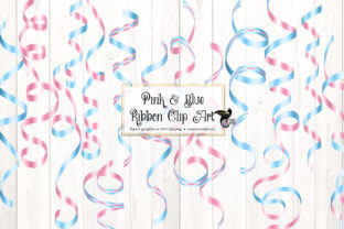 Print on Demand: Pink and Blue Ribbon Clipart Graphic Illustrations By Digital Curio