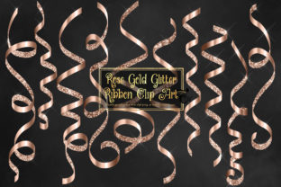 Print on Demand: Rose Gold Glitter Ribbon Clipart Graphic Illustrations By Digital Curio