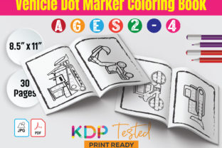 Vehicle Dot Marker Coloring Book 2-4 Graphic KDP Interiors By GraphicTech360