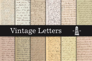 Print on Demand: Vintage Handwriting Letters Graphic Backgrounds By northseastudio