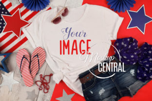 Woman's USA America T-Shirt Mockup Graphic Product Mockups By Mockup Central