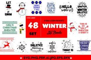 48 Winter Illustrations/QuotesBundle Graphic Objects By sidd77