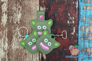 Angry Monster ITH Snaptab Keyfob Design Backgrounds Embroidery Design By embroiderydesigns101