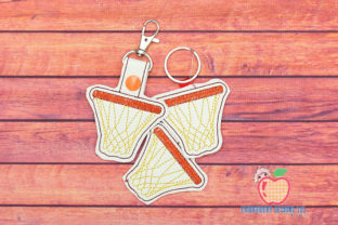 Basketball Net ITH Key Fob Pattern Sports Embroidery Design By embroiderydesigns101