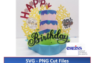 Birthday Cake Pop-Up Card Graphic 3D SVG By Cheiss Designs