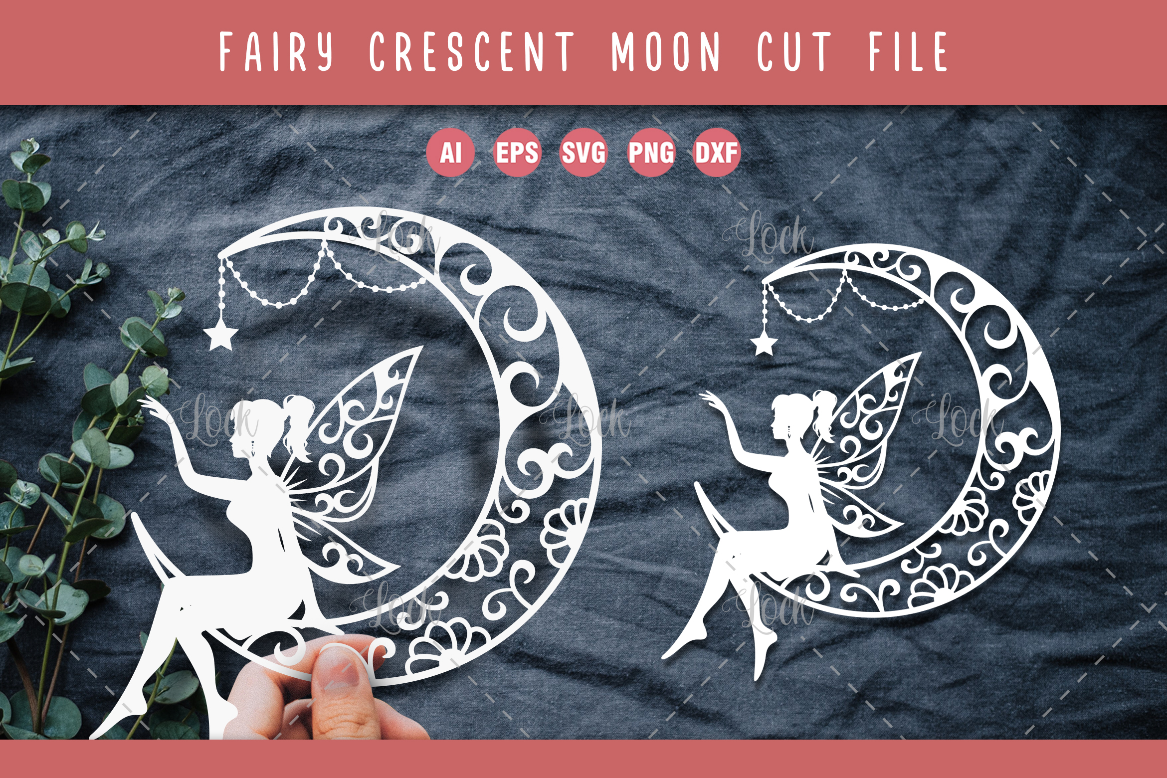 Crescent Moon and Fairy SVG File
