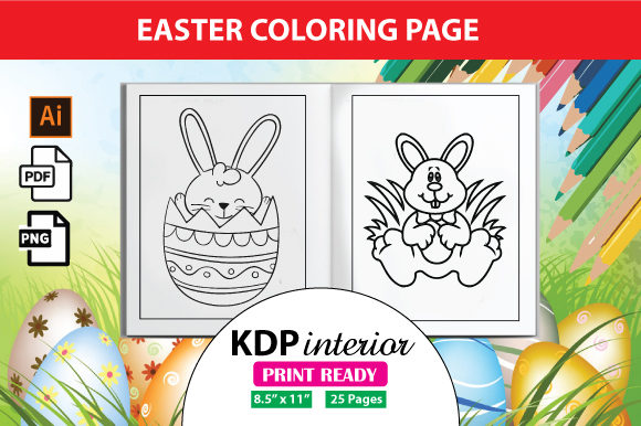 Easter Coloring Book For Kids KDP Graphic By Designjunction · Creative  Fabrica