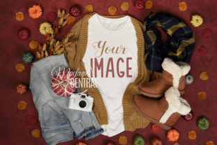 Fall Leaves Shirt Mockup Flatlay Graphic Product Mockups By Mockup Central