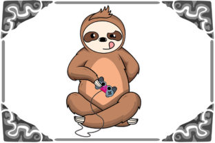 Print on Demand: Gaming Gamer Sloth SVG and PNG Graphic Print Templates By Lifua