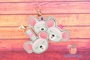 Happy Mouse Face Keyfob Keychain ITH Farm Animals Embroidery Design By embroiderydesigns101