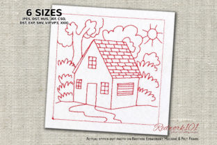 Home Surrounded by Nature Redwork Farm & Country Embroidery Design By Redwork101