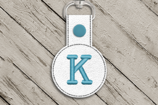 Letter K ITH Round Key Fob Applique Accessories Embroidery Design By DesignedByGeeks