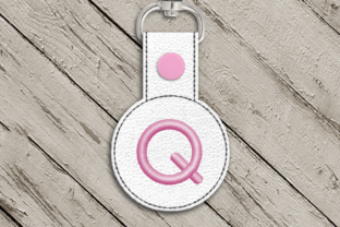 Letter Q ITH Round Key Fob Applique Accessories Embroidery Design By DesignedByGeeks