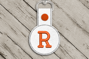 Letter R ITH Round Key Fob Applique Accessories Embroidery Design By DesignedByGeeks