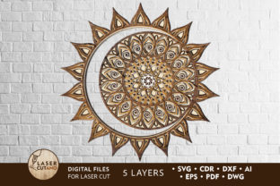 Multilayer Cut Files SOLAR ECLIPSE Graphic 3D SVG By LaserCutano