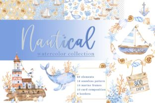 Print on Demand: Nautical Watercolor Collection Graphic Illustrations By VashaRisovasha