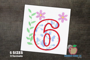 Number 6 Applique Birthdays Embroidery Design By embroiderydesigns101