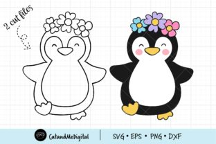 Penguin with Flower Svg. Graphic Illustrations By CatAndMe