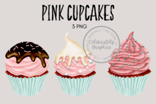 Pink Cupcake Clipart Graphic Illustrations By Celebrately Graphics