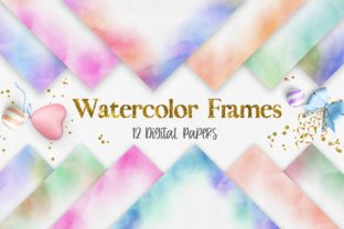 Print on Demand: Rainbow Watercolor Frames Background Graphic Backgrounds By PinkPearly