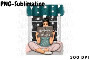 Reading Girl | Png for Sublimation Graphic Backgrounds By Tanya Kart