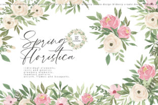Spring Floristica Watercolour Art Graphic Illustrations By BilberryCreate