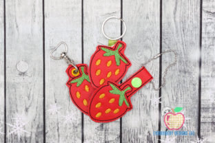 Strawberry ITH Keyfob Food & Dining Embroidery Design By embroiderydesigns101
