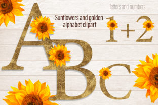 Print on Demand: Sunflowers and Gold Alphabet Clipart Graphic Illustrations By ElenaZlataArt