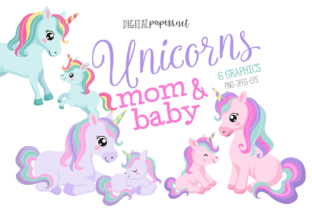 Print on Demand: Unicorn Mom & Baby Clipart Set Graphic Illustrations By DigitalPapers