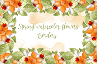 Print on Demand: Watercolor Spring Flower Borders Graphic Illustrations By Andreea Eremia Design