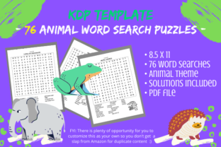 Print on Demand: 76 Animal Word Search Puzzles & Solution Graphic KDP Interiors By Tomboy Designs