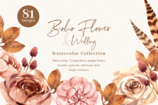 Boho Flowers and Leaf Wedding Watercolor Graphic Illustrations By WatercolorEps
