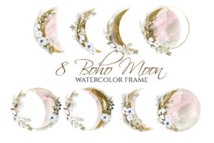 Boho Round Floral Frame Pink & Gold Moon Graphic Illustrations By lena-dorosh